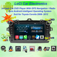 Car Android Multimedia dvd player gps navigation for Toyota Corolla 2006- 2012 car +Free GPS map+camera+ Free shipping