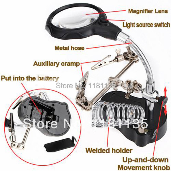 3 5X 12X LED Helping Hand Stand Clip Welded Hold Magnifier Clamp Glass Lens Magnifying Repair
