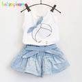 2 Piece 0 7Years Kids Summer Clothes Suit Baby Girls Outfit Cartoon Cute Sleeveless T shirt