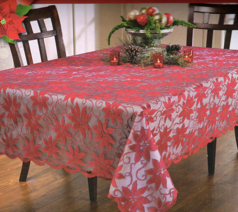 Free shipping Christmas red poinsettia floral polyester lace tablecloths oblong for holiday table cloths 70 inch Round 52x70(China (Mainland))