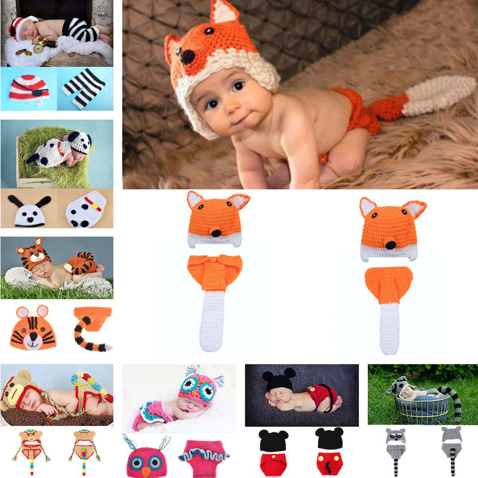 Crochet Fox Design Baby Hat and Pants Set Infant Baby Photography Props Crochet Hats and Diaper Cover Set 1set  MZS-032<br><br>Aliexpress