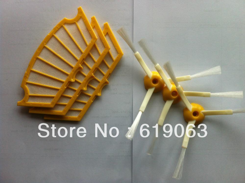 3 piece Replacement Filter for iRobot Roomba Cleaner Filter and 3 piece iRobot Roomba Cleaner 3 Arms Side Brush(China (Mainland))