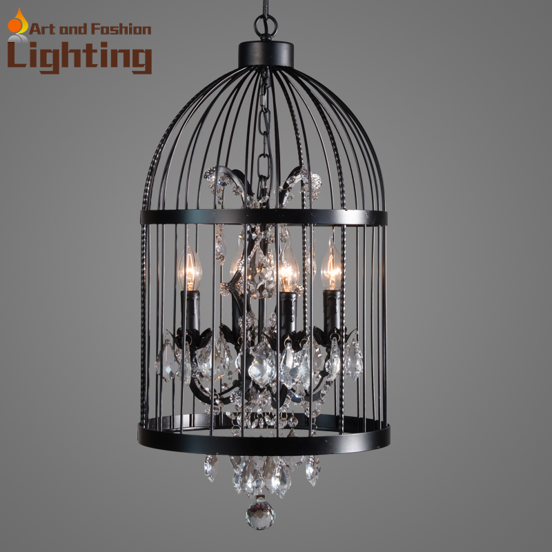 Luxury crustabl iron birdcage pendant light large hobby living room dining room lamp YT1876