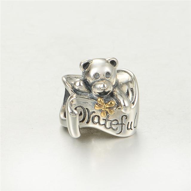 Серебро 925 изящные Jewerly Greatful медведь бусины DIY стерлингов - серебристо-ювелирные подходит европейским очаровывает браслеты