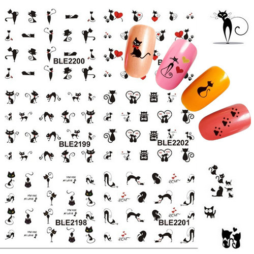 1sheet Black Sexy Cat Design Manicure Foil Printing Wraps Water Transfer Stickers Nail Art Polish Decals DIY nail tools #BLE(China (Mainland))