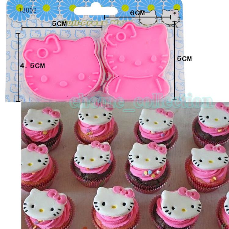 2pcs/set Hello Kitty Cake Sugarcraft Cookies Mold Bread Cutter Plunger Mould Decorating Cake Tools Kitchenware Free Shipping(China (Mainland))