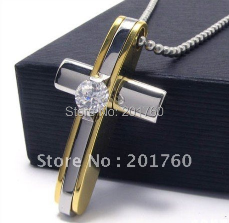 Golden big crystal Stainless steel Men's Cross pendant Necklaces 5pcs/lot mix order free shiping(China (Mainland))