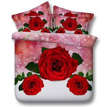 Free shipping via UPS twin/full/queen/king/super king size 3d red/pink rose lily flowers 5pcs bedding set with comforter(China (Mainland))