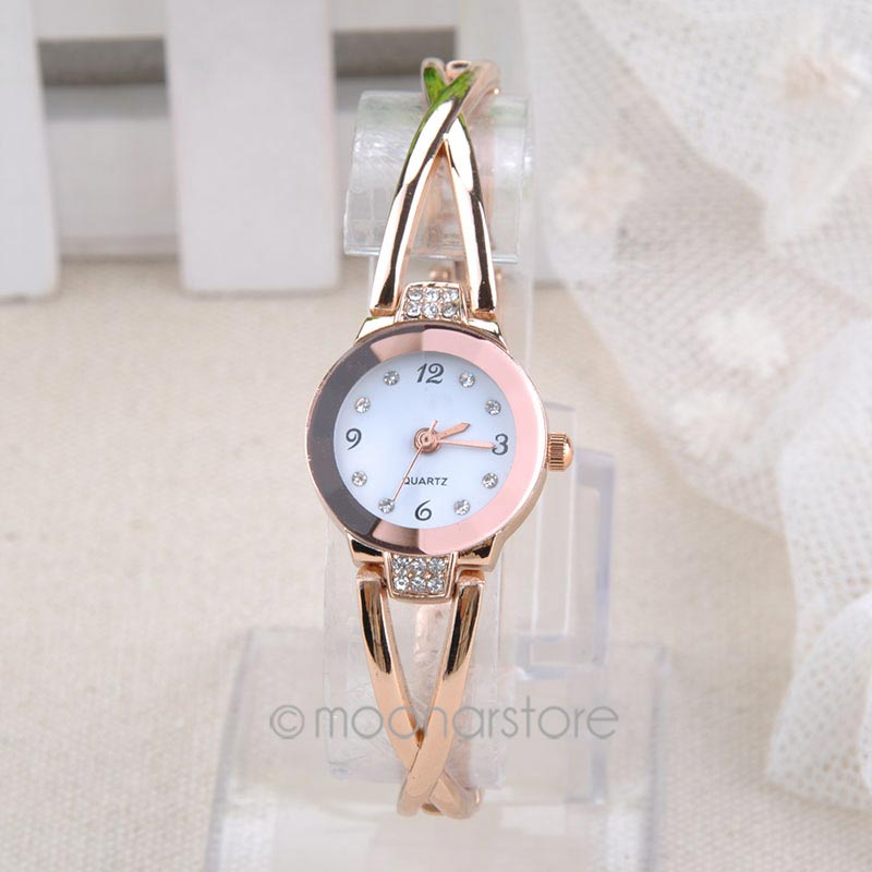 Quartz Watches Women Fashion Rhinestone Dial Rose Gold Watch Women's Charm Bracelet Wristwatches Relogio X*USMHM526(China (Mainland))