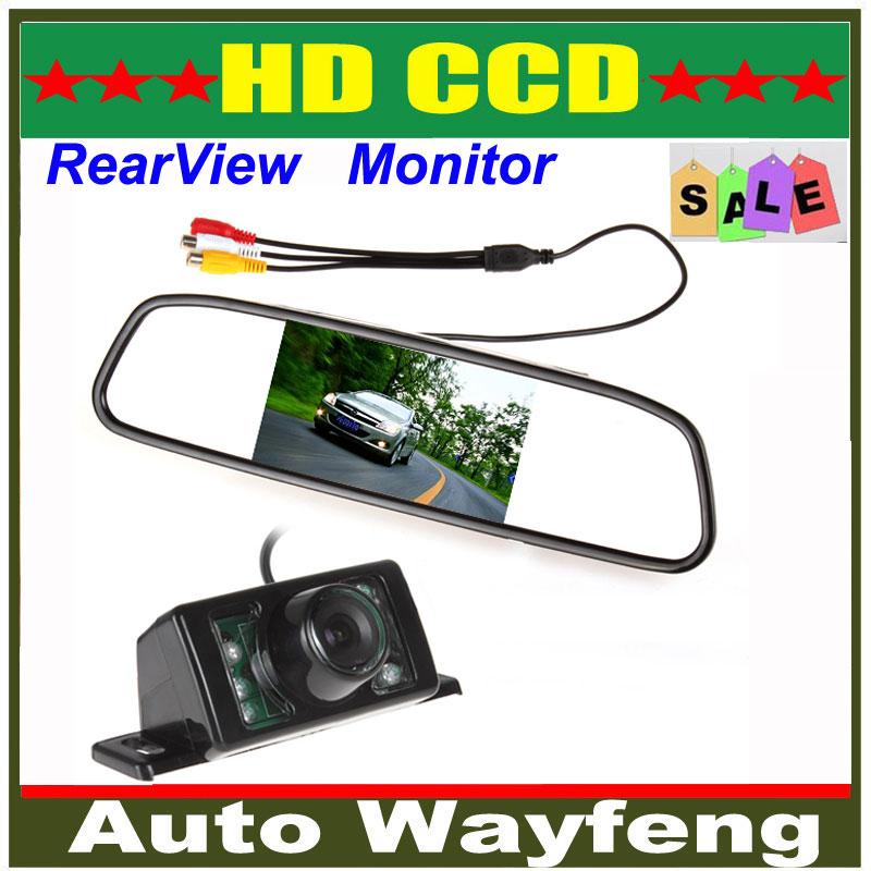 480 x 272 4.3 Inch TFT LCD Display Car Rear View Mirror Monitor + 7 IR Lights Night Vision RearView Reversing Backup Camera(China (Mainland))