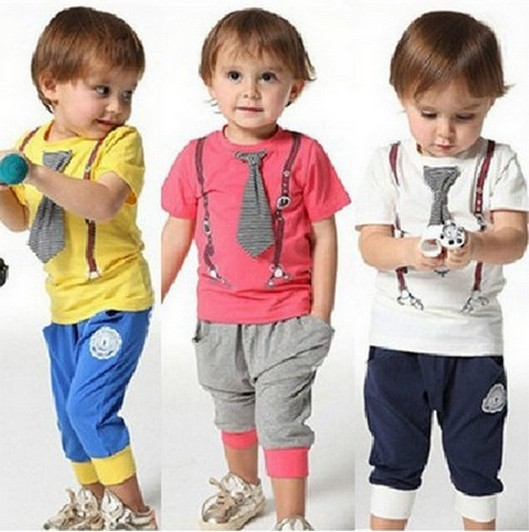 BIG sale!! / New Design /100% Cotton 2014 spring-summer new arrived casual sport tie children baby boy clothing sets kids(China (Mainland))