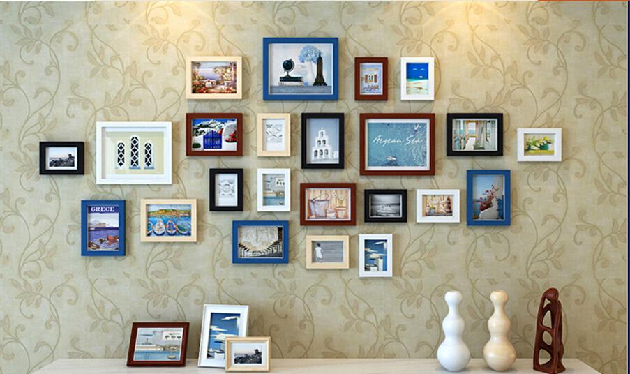 2015 Home Decor Wedding 23 pcs/set 5 inch 7 10 Wood Creative Combination Wall Photo Frame Set Art Safo wall decor - Jessie international trading co.,LTD store