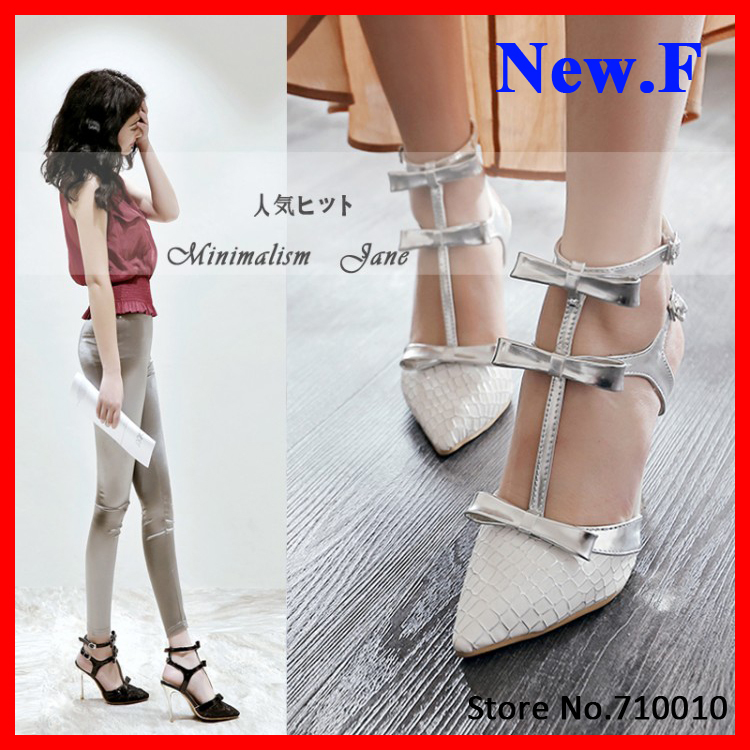 ENMAYER T- Strap Sexy Lace Thin Heels bow Women Sandals Fashion Sexy High Heels Summer Shoes Wedding pointed Platform Sandals