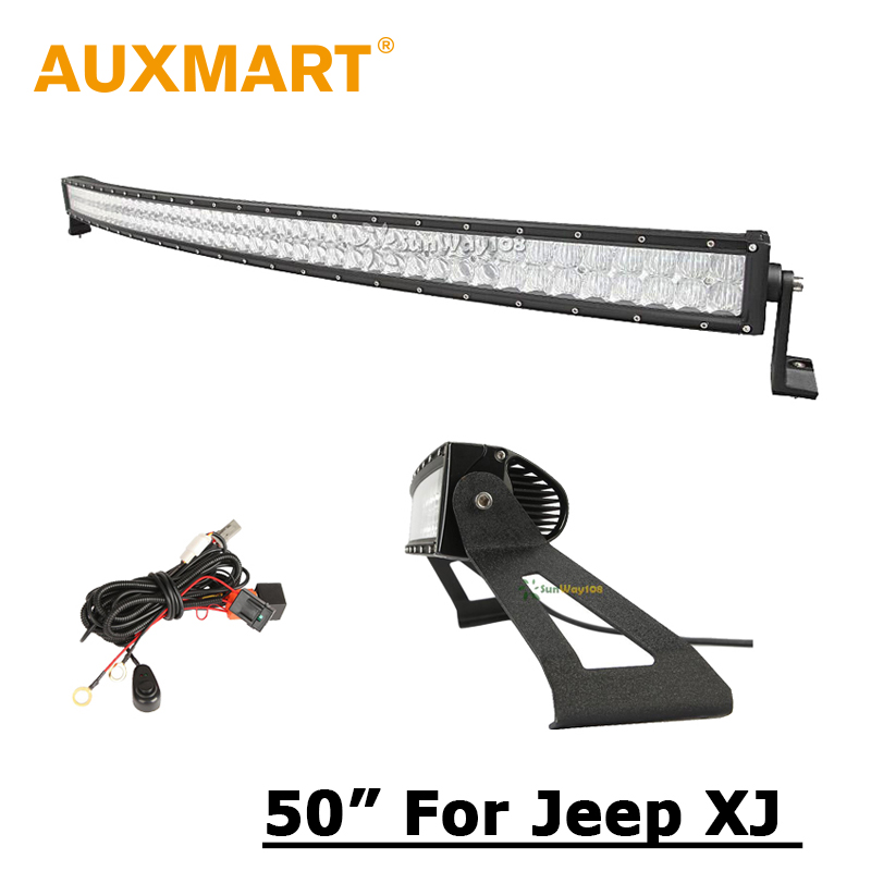Auxmart LED Light Bar For Jeep Cherokee XJ 5D CREE Chips Curved 50 inch 480W Light Bar + Windshield Mounting Bracket(China (Mainland))