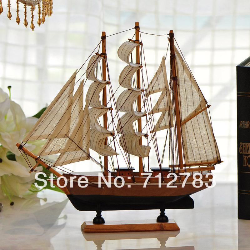 Free Shipping 2014 Wholesale Handmade Wooden Home Decor Sailing Boat Model(China (Mainland))
