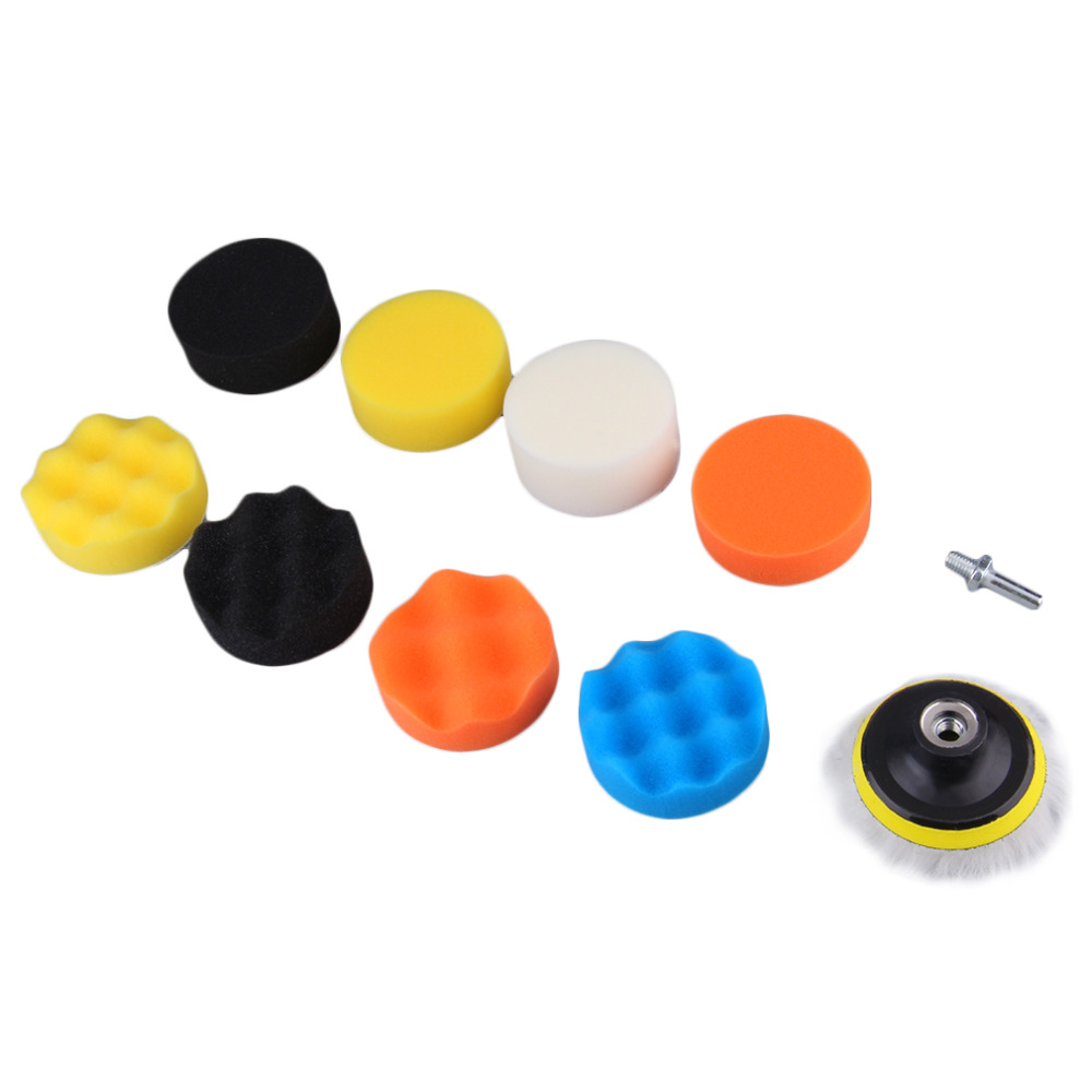 """10 Pieces Gross Polishing Buffer Pad Set 4"""" Buffing Pad Kit with 3 Pads 1 Backing Plate 5 Sanding Paper and 1/4"""" Drill Adaptor(China (Mainland))"""