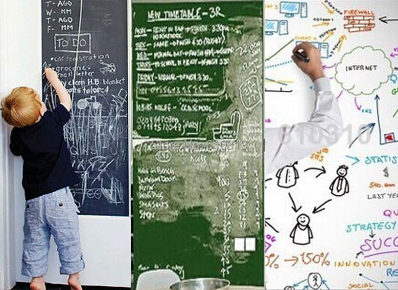 Vinyl Chalkboard Wall Stickers Removable Blackboard/Greenboard/Whiteboard whiteboard sticker paper 45CMx200CM With Gift(China (Mainland))