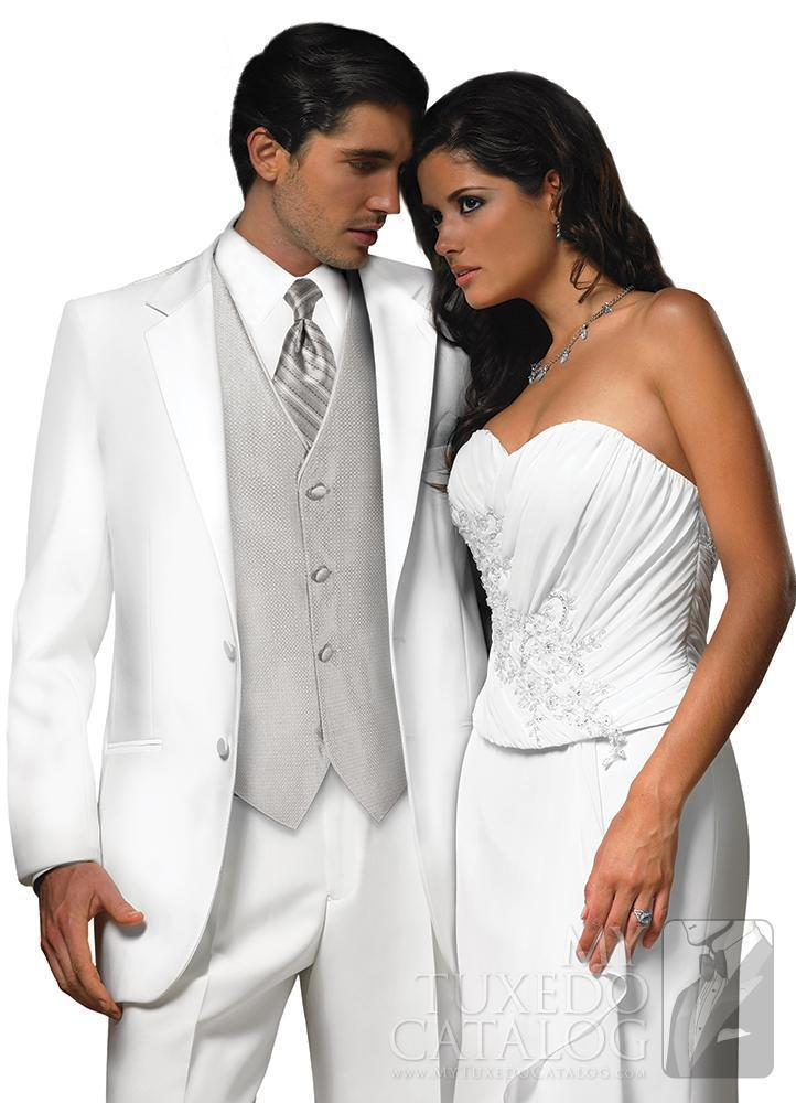 notched Lapel groom Tuxedos white Wedding suits for Men groomsmen suits two button three piece Suit (Jacket+Pants+vest+tie)