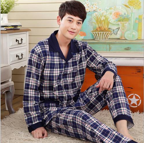 2015 spring autumn new foreign trade longt-sleeved pajamas men casual cardigan knit pajamas Pyjamas Set(China (Mainland))