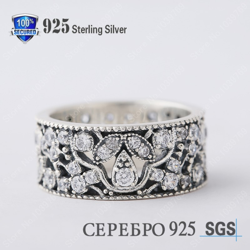 Brand Wedding Leaves Ring 925 Sterling Silver Vintage Pave Clear CZ Stone Leaf Flower Rings For Women 2015 Fashion Fine Jewelry