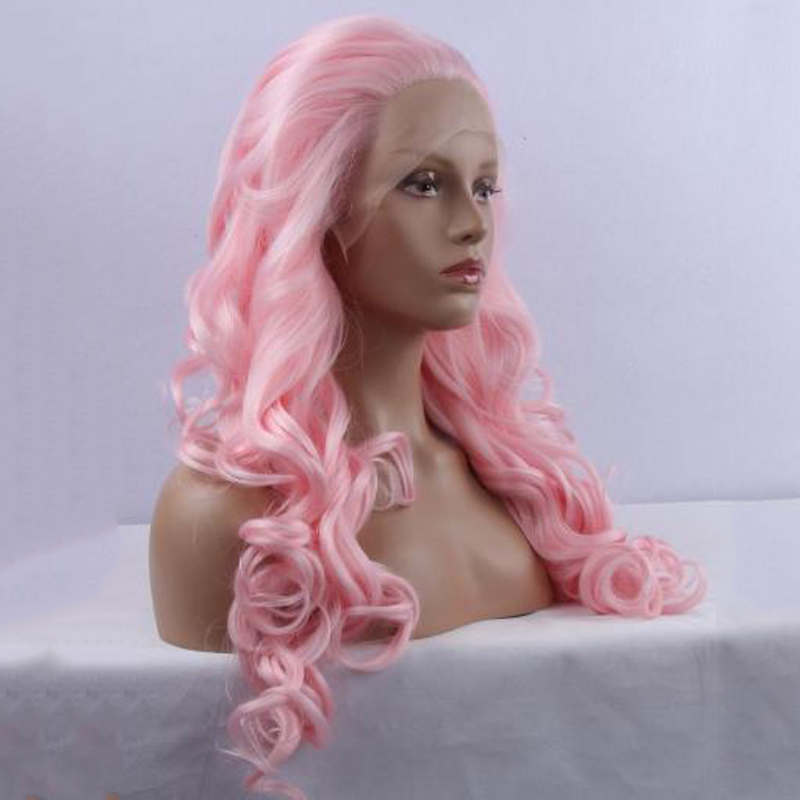 Heat Resistant Synthetic Hair Pink Lace Front Wig For Women Best Natural Looking Wavy African American Synthetic Lace Wigs(China (Mainland))