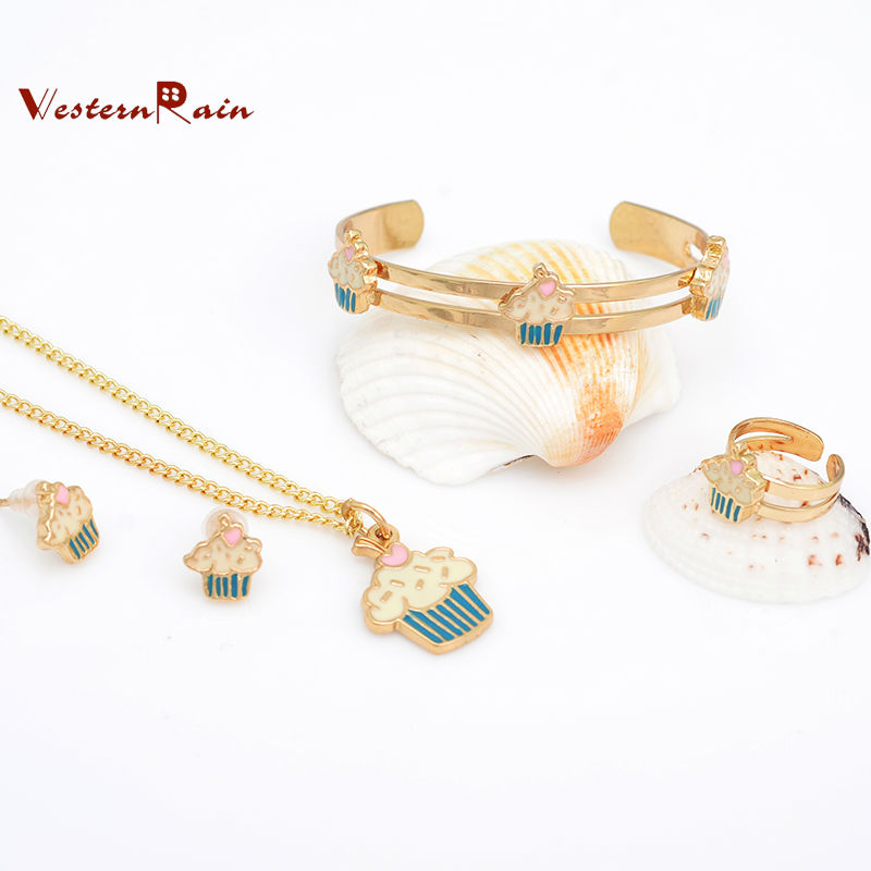WesternRain Gold Plated Baby Bracelet Necklace Set Children Jewelry Bridal Party Gift For Kids/Ice-cream Jewelry,Free shipping(China (Mainland))