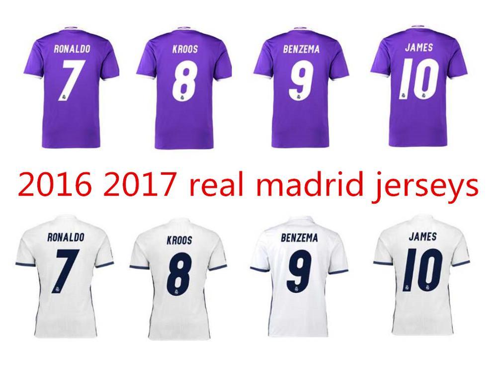 2016 2017 ReALes 16 17 short Sleeve Maillot De Foot bale Modric James isco Benzema Cristiano Ronaldo Shirt(China (Mainland))