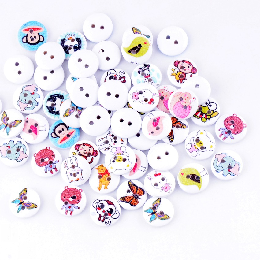 Free Shipping Retail 10Pcs Random Mixed 2 Holes Print Animals Wood Buttons 15mm Dia. Sewing Tools For Diy Clothing Accessories(China (Mainland))