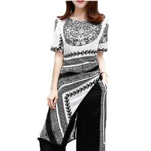 Buy Two Piece Set Women Vintage Print Irregular Hem Tops Wide Leg Pants Elegant Ladies Suits Summer Plus Size Women Sets S3746 for $22.33 in AliExpress store