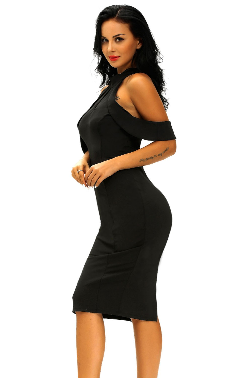 Black-Cute-Cold-Shoulder-Cutout-Halter-Midi-Dress-LC61125-2-3