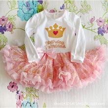 Bling Bling birthday princess tutu layered ruffle baby girl 1 year birthday dress(China (Mainland))
