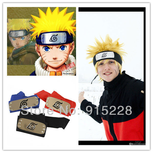 Japan Anime Naruto Cosplay Konoha Headbands, Uzumaki Naruto cosplay,Uchiha Sasuke Cosplay - Black+Red+Blue(Free Shipping)(China (Mainland))