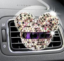 Luxury car ornaments girl Exquisite diamond Mickey Air conditioning outlet perfume Car air refreshing agent(China (Mainland))