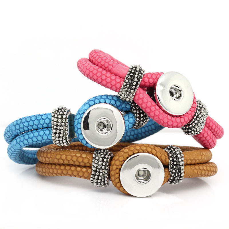 2015-New-5PC-PU-Leather-Bracelets-Fit-Snaps-Snap-Buttons-Mixed-21cm-8-2-8-long