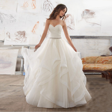 Buy Robe De Mariage Vestido De Noiva Sweetheart Lace Princess Ball Gown Ruffles White Ivory Organza Wedding Dress 2017 for $98.45 in AliExpress store