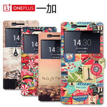 PU Leather Back Cases For Oneplus One 1 Cartoon Drawing Hard Covers Funda For One Plus