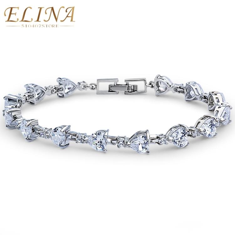 Wholesale AAA 4 Colors Swiss Oval Cubic Zirconia Diamond 18K Gold Plated Zircon Strand Heart Bracelet Jewelry Valentines Gift<br><br>Aliexpress