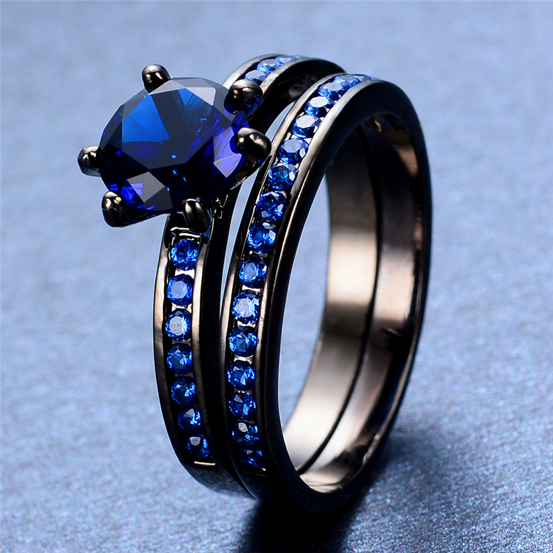Antique 6 Claws Blue Sapphire Zircon Rings Black Gold Filled Party Jewelry Wedding Engagement Double Rings For Couples RB0546(China (Mainland))