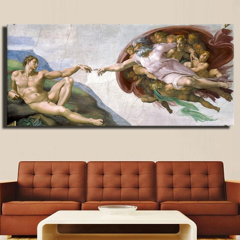 2016 Rushed Wall Art Di Lodovico Buonarroti Simoni (1475 – 1564) Creation Of Adam Famous Painting Reproductions Free Shipping