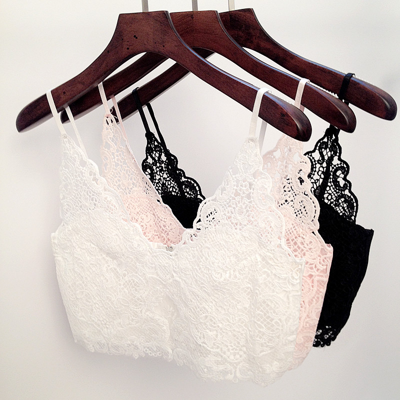 Deep V Neck Lace Bralette Top Spaghetti Strap Lace Crochet Tank Top Lace Crochet Crop Top Sexy Cropped Camisole Bra Tank Top MJ(China (Mainland))