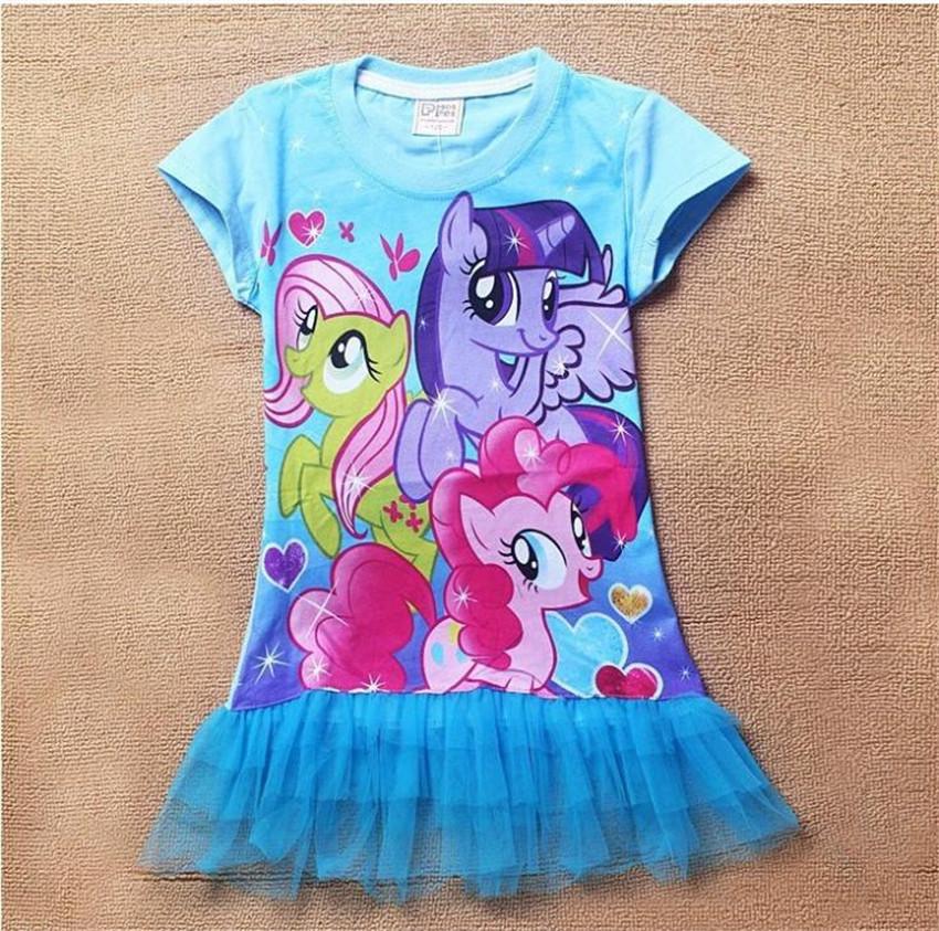 2015 New Fashion Baby Girls My little Pony Cotton Dress Girls Summer Tutu Dresses 3D Printer Vestidos Infantis(China (Mainland))
