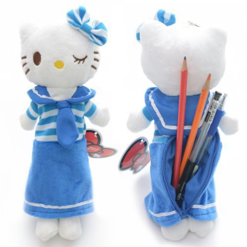 "Blue Navy Hello Kitty Cat Plush Pencil Bag Pen Case Stationery 10"" New #LNF(China (Mainland))"
