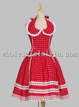 Romantic Chic Halterneck Tartan Patterned Cotton Flax Dress Reenactment Stage Costume