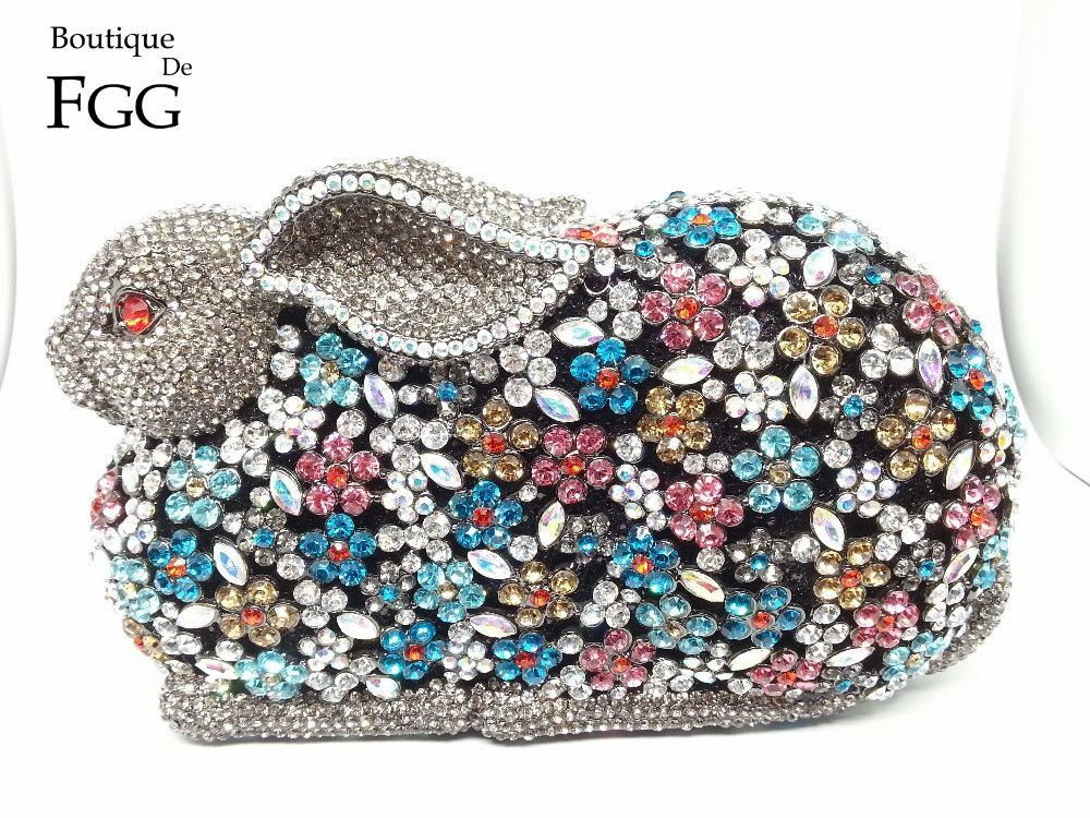 Gift Box Crystal Evening Bag Clutch Purse Brides Multi Diamond Rabbit Handbag Party Women Bag Clutches Rhinestones Wedding Bags(China (Mainland))