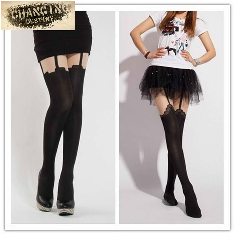 Fashion Women Lace Fake Garter Belt Suspender Tights Sexy Black Sheer Stripe Over The Knee Medias Hosiery Stockings Pantyhose(China (Mainland))