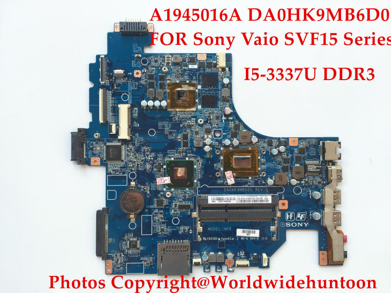 Top quality laptop motherboard FOR Sony Vaio SVF15 SVF152A29M Series A1945016A DA0HK9MB6D0 I5-3337U DDR3 Fully tested(China (Mainland))