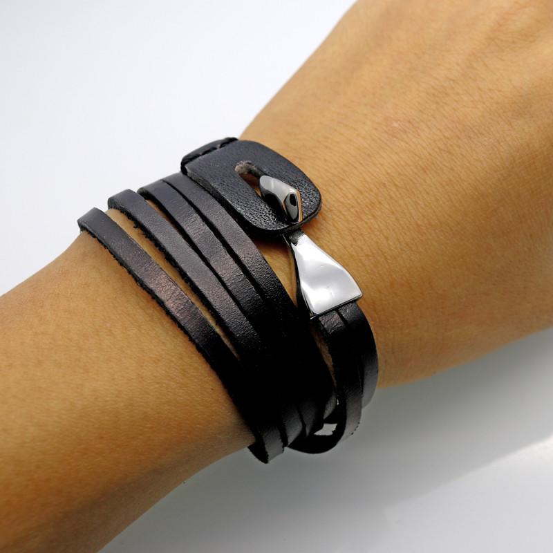 Браслет из натуральной кожи в три оборота для мужчин и женщин, стиль ретро с крюком застежкой из нержавеющей стали, цвет чёрный и коричневый.