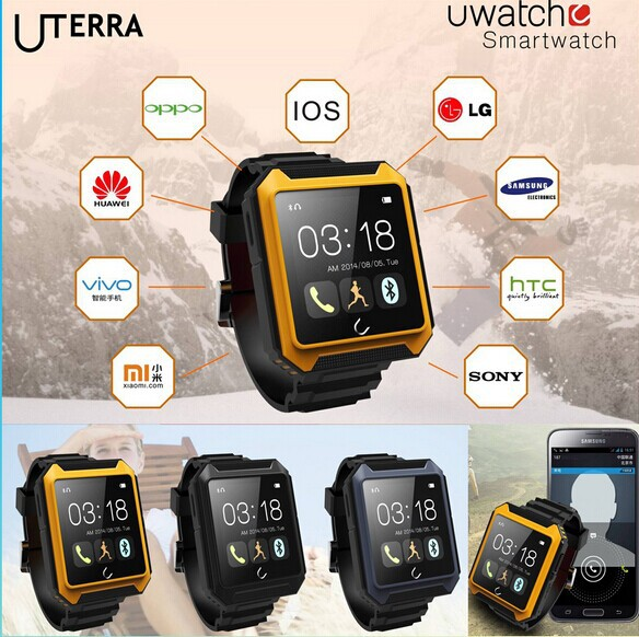 Uwatch Uterra Bluetooth Smart Watch IP68 Waterproof Pedometer Sports Wristwatch with TF Card for Smartphone android mobile watch(China (Mainland))