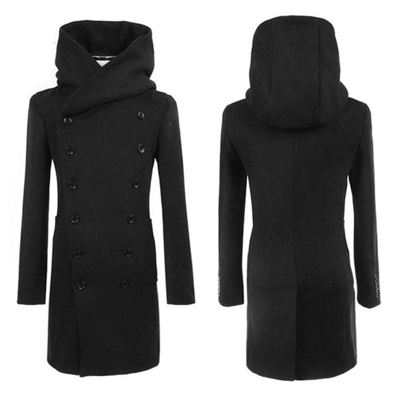 2014 New Mens Long Trench Coat Veste Homme Double Breasted Winter Jacket Men Slim Fit Hooded Warm Pea Coat Windbreaker Black(China (Mainland))