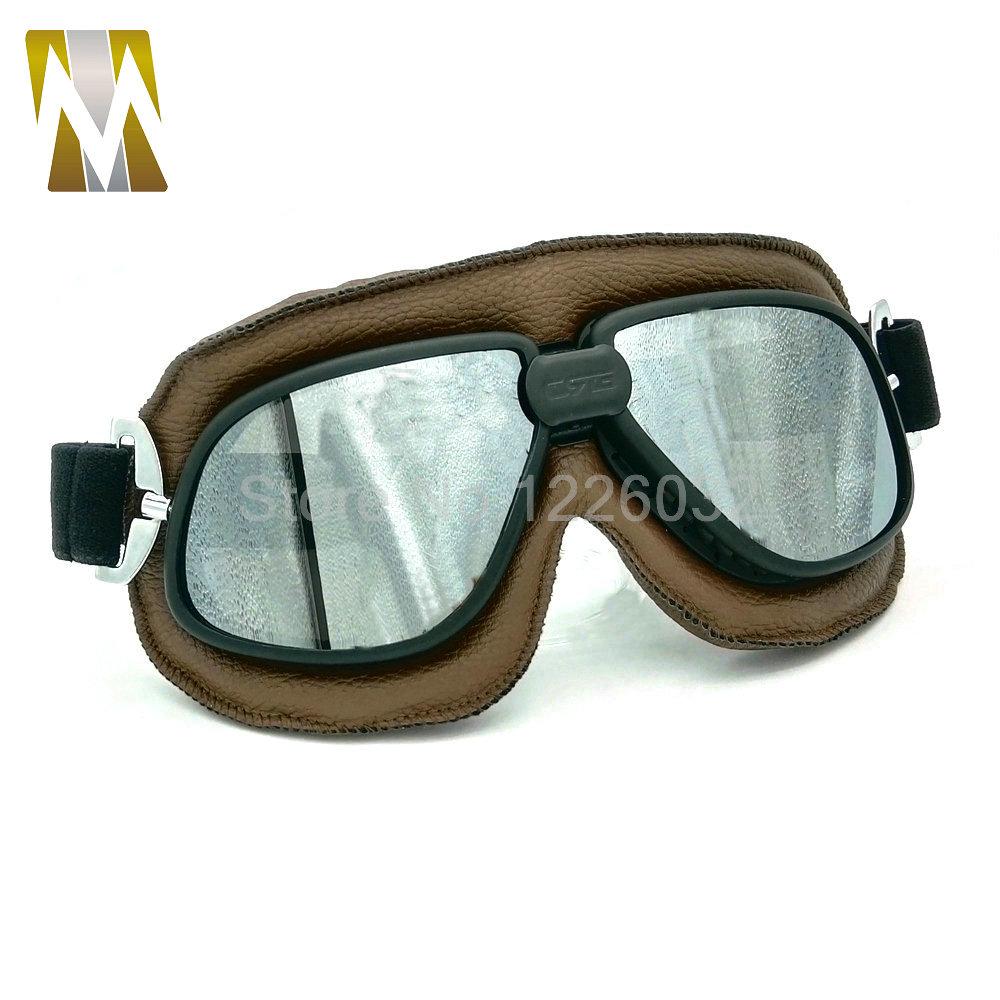 Vintage Pilot Eyewear Mirrored Lenses Helmet Goggles Glasses Motorcycle Goggle Biker Leather For Motorcycle Bike ATV Google(China (Mainland))